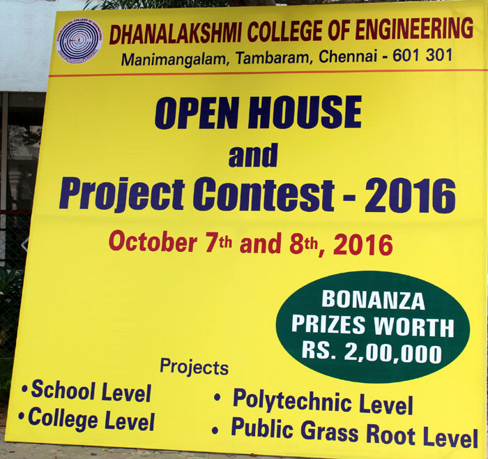 Open House Project Contest 2016 organized by DCE,  on 07 & 08  Oct  2016