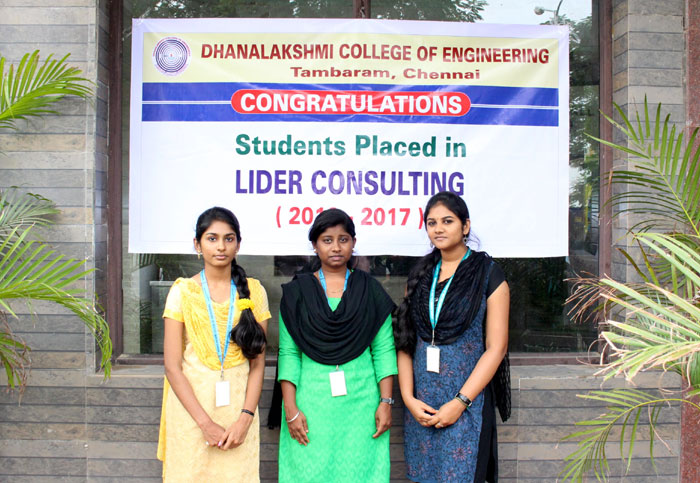 Three of our Students were Placed in the Campus Drive conducted by Lider Consulting, on 18 Oct 2016