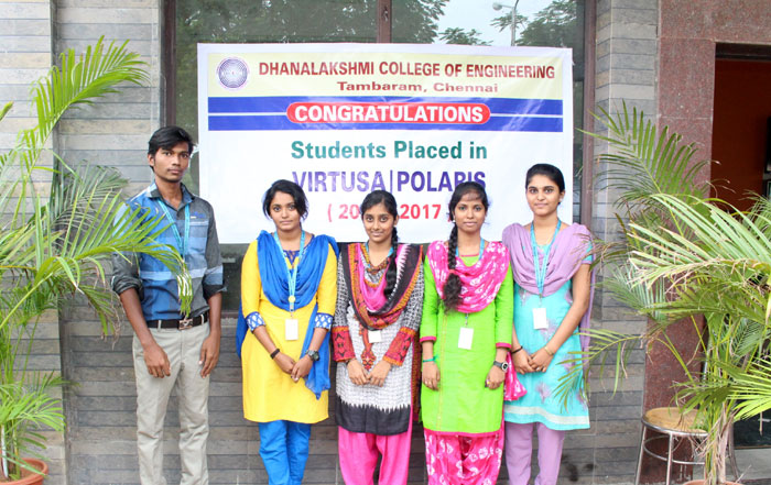 Five Students of DCE who made the college proud by being recruited by Virtusa Polaris, on 15 Oct 2016