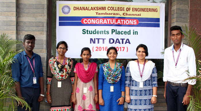 Six Students of DCE who made the college proud by being recruited by NTT Data,  on 21 Nov 2016