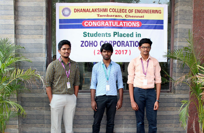Three Students of DCE who made the college proud by being recruited by ZOHO Corporation,  on 31 Aug 2016