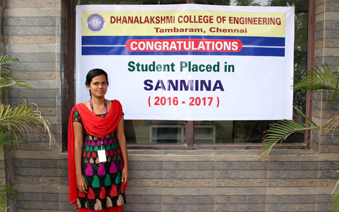 A Student of DCE who made the college proud by being recruited by SANMINA,  on 04 Nov 2016
