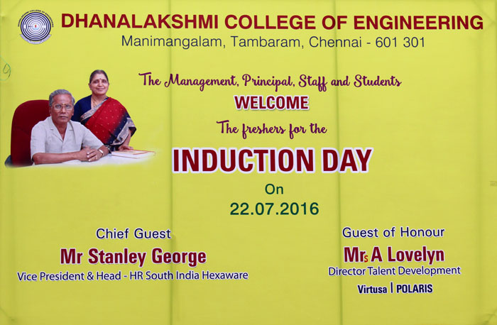 Induction Programme for First Year Students - CSE, ECE, EEE, on 22 Jul 2016