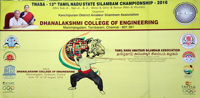 13<sup>th</sup> Tamil Nadu State  Silambam Championship - 2016, from 13 - 15  Aug 2016